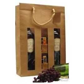 sac kraft 3 bouteilles avec fenêtre